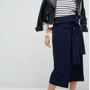 ASOS Origami Wrap Midi Pencil Skirt Size 8